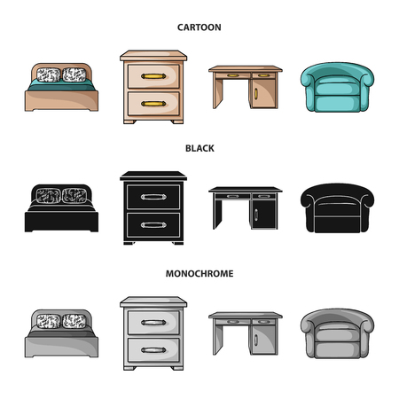 Interior, design, bed, bedroom .Furniture and home interiorset collection icons in cartoon,black,monochrome style bitmap symbol stock illustration web.