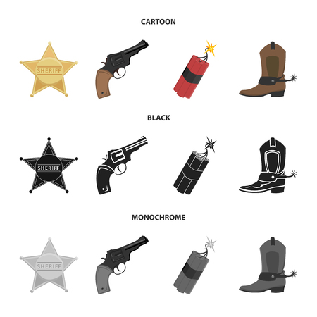 Star sheriff, Colt, dynamite, cowboy boot. Wild West set collection icons in cartoon,black,monochrome style bitmap symbol stock illustration web. 스톡 콘텐츠