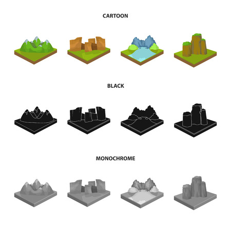 Mountains, rocks and landscape. Relief and mountains set collection icons in cartoon,black,monochrome style isometric bitmap symbol stock illustration web.