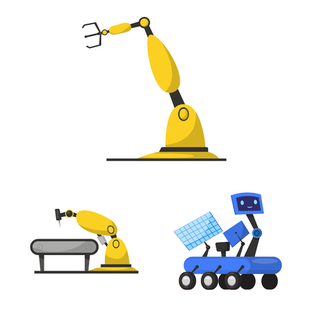 Isolated object of robot and factory sign. Collection of robot and space stock vector illustration. Illustration