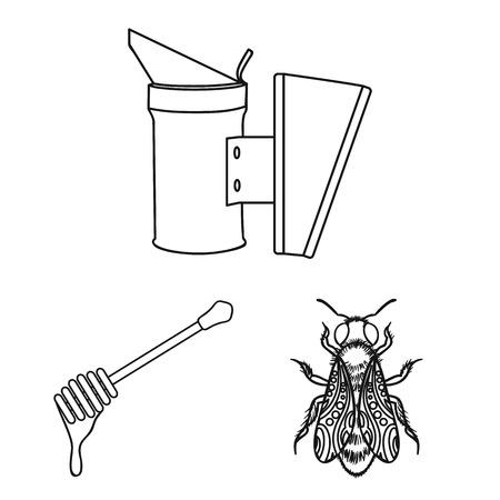 Icônes de rucher et apiculture dans la collection de jeu pour la conception.Équipement et production d'illustration web stock de symbole de vecteur de miel.