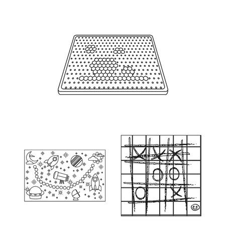 Bordspel overzicht pictogrammen in set collectie voor design. Spel en entertainment vector symbool stock web illustratie. Vector Illustratie