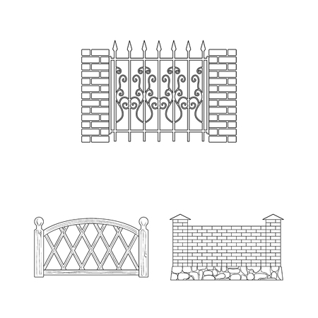 Different fence outline icons in set collection for design.Decorative fencing vector symbol stock web illustration. Vettoriali