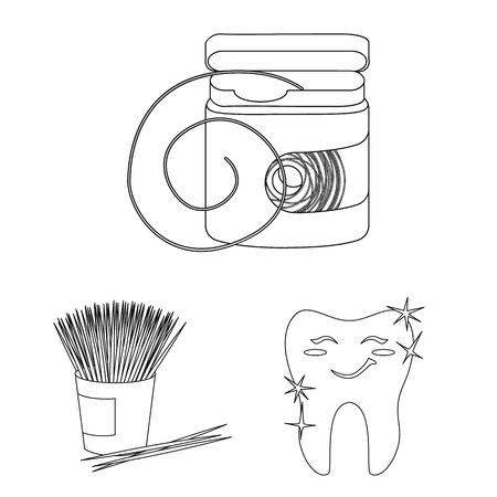 Dental care outline icons in set collection for design. Care of teeth vector symbol stock web illustration. Reklamní fotografie - 108269128