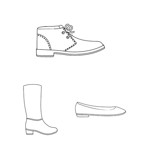 A variety of shoes outline icons in set collection for design. Boot, sneakers vector symbol stock web illustration. Vettoriali