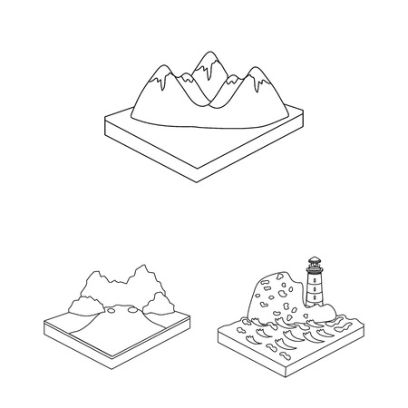 Mountains, massive outline icons in set collection for design. The surface of the earth vector isometric symbol stock web illustration. Иллюстрация