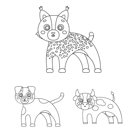 Toy animals outline icons in set collection for design. Bird, predator and herbivore vector symbol stock web illustration. Çizim