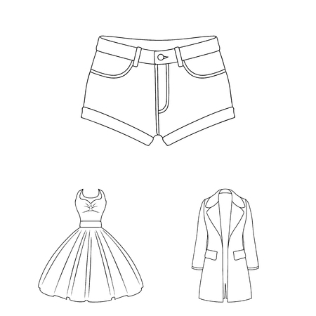 Women s Clothing outline icons in set collection for design.Clothing Varieties and Accessories vector symbol stock web illustration.