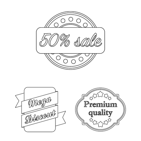 Different label outline icons in set collection for design. Index and brand vector symbol stock web illustration. Иллюстрация