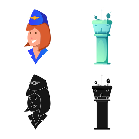 Vector illustration of airport and airplane sign. Set of airport and plane vector icon for stock. Vectores