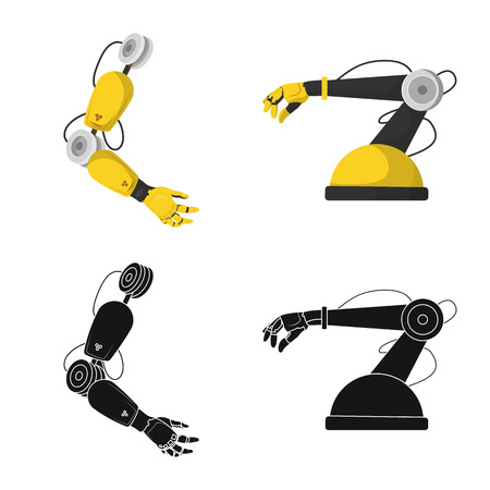 Vector illustration of robot and factory symbol. Set of robot and space stock vector illustration.