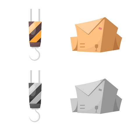 Vector illustration of goods and cargo symbol. Set of goods and warehouse vector icon for stock. Ilustração