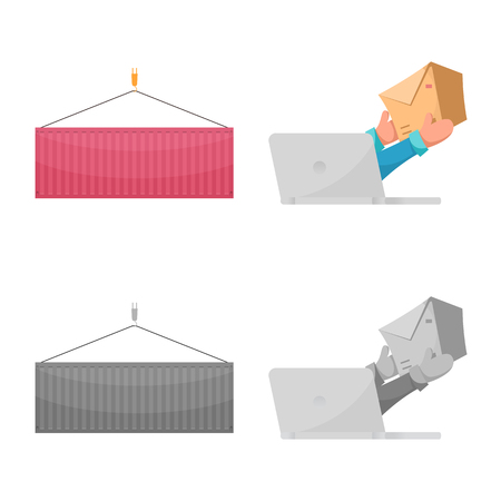 Vector design of goods and cargo logo. Collection of goods and warehouse vector icon for stock.