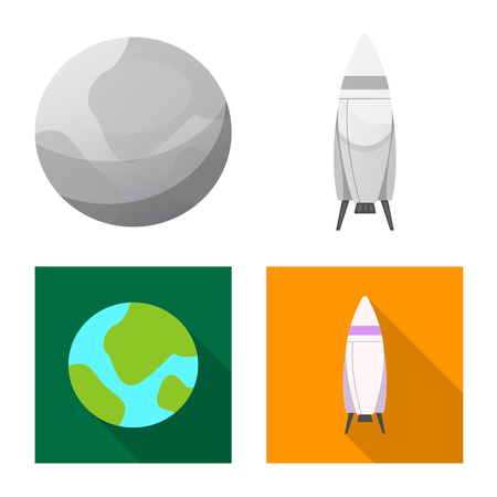 Isolated object of mars and space symbol. Set of mars and planet stock symbol for web.