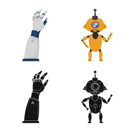 Diseño vectorial de robot y logotipo de fábrica. Conjunto de icono de vector de robot y espacio para stock.