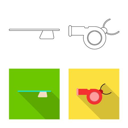 Diseño vectorial de icono de piscina y natación. Conjunto de símbolo de stock de piscina y actividad para web.