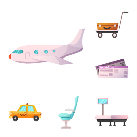 Vector illustration of airport and airplane symbol. Collection of airport and plane stock vector illustration.