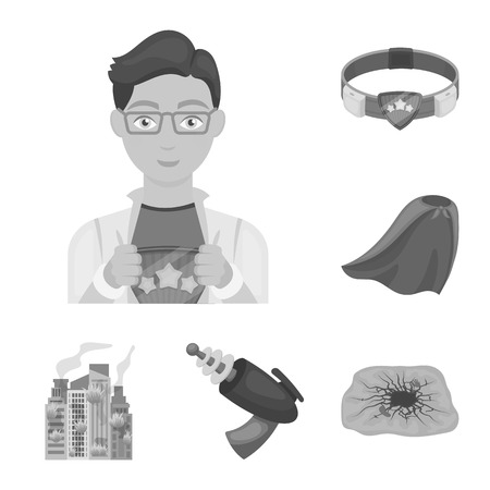 A fantastic superhero monochrome icons in set collection for design. Superhero s equipment vector symbol stock illustration.