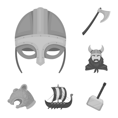 Vikings and attributes monochrome icons in set collection for design.Old Norse Warrior vector symbol stock  illustration. Çizim