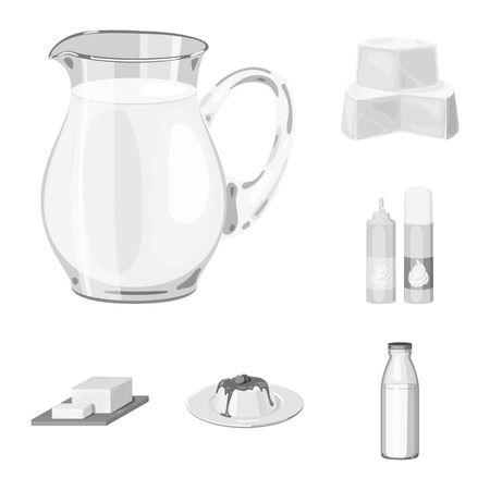 Milk product monochrome icons in set collection for design.Milk and food vector symbol stock illustration.