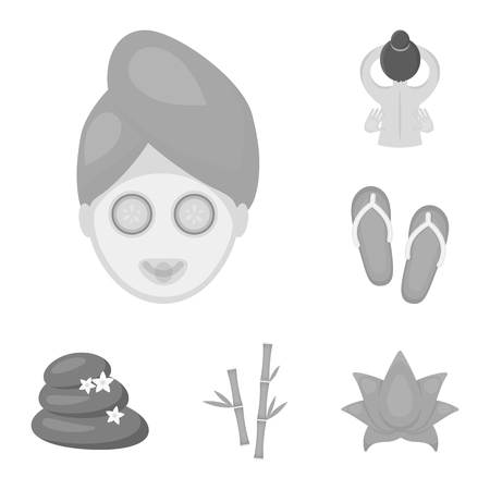 Spa salon and equipment monochrome icons in set collection for design. Relaxation and rest vector symbol stock  illustration. Illustration