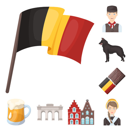 Country Belgium cartoon icons in set collection for design.Travel and attractions Belgium vector symbol stock web illustration. Illustration