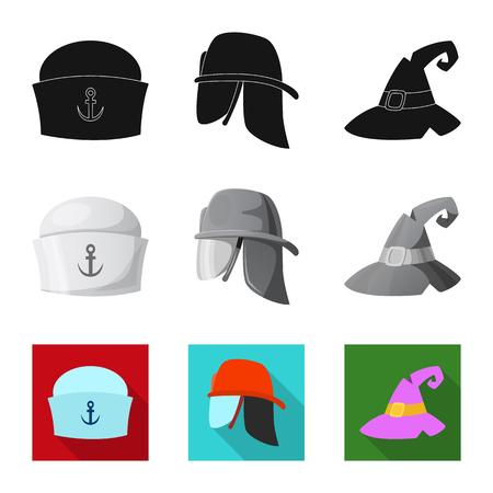 Diseño vectorial de sombrero y signo de gorra. Colección de sombreros y accesorios vector icono de stock. Ilustración de vector