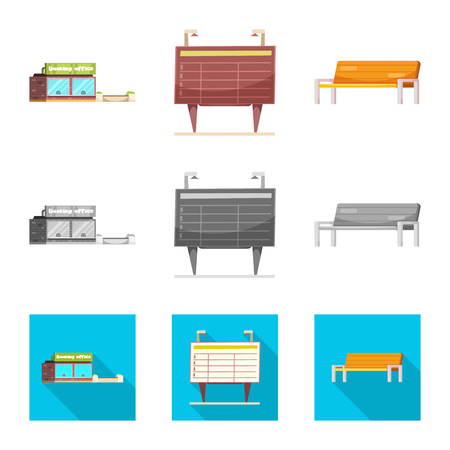 Isolated object of train and station symbol. Collection of train and ticket vector icon for stock. Illustration