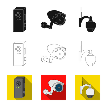 Isolated object of cctv and camera sign. Collection of cctv and system stock symbol for web. Illustration