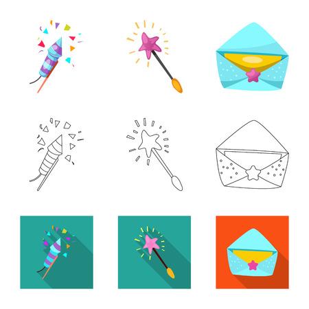 Vectorillustratie van partij en verjaardagsteken. Set van partij en viering vector pictogram voor voorraad.