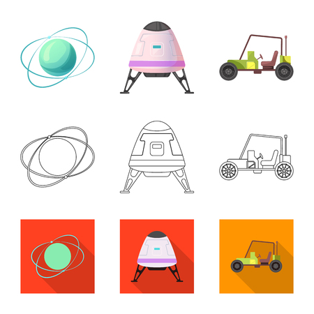 Vector illustration of mars and space symbol. Collection of mars and planet stock vector illustration.