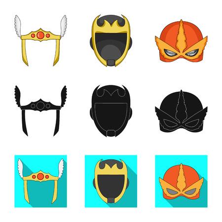 Oggetto isolato di eroe e icona della maschera. Raccolta di eroe e supereroe simbolo azionario per il web.