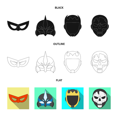 Vector design of hero and mask icon. Set of hero and superhero vector icon for stock. 向量圖像