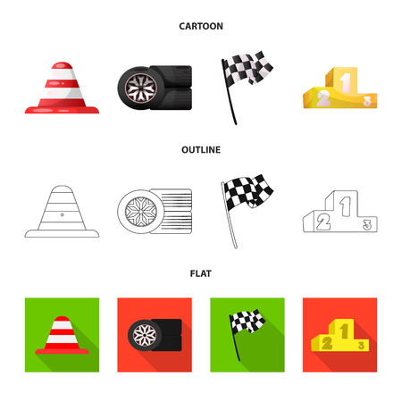 Isolated object of car and rally symbol. Set of car and race stock vector illustration.