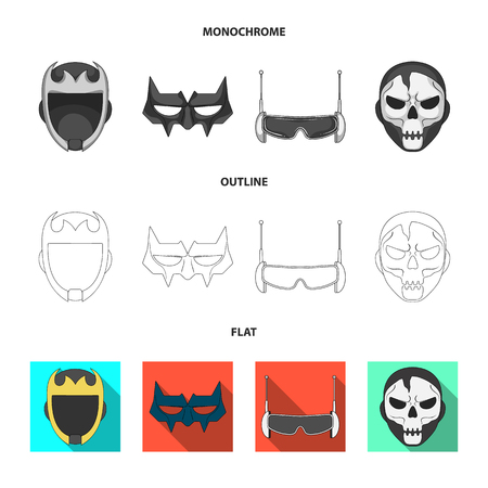 Vector illustration of hero and mask sign. Collection of hero and superhero vector icon for stock. 向量圖像