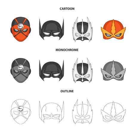 Illustrazione vettoriale di eroe e simbolo di maschera. Set di eroe e supereroe simbolo azionario per il web.
