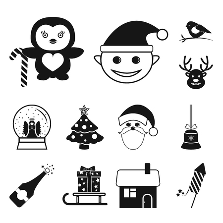 Christmas attributes and accessories black icons in set collection for design. Merry Christmas vector symbol stock illustration.