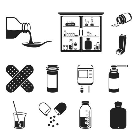 Medicina y tratamiento iconos negros de colección set de diseño. Ilustración de stock de símbolo de vector de medicina y equipo. Ilustración de vector