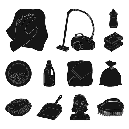 Cleaning and maid black icons in set collection for design. Equipment for cleaning vector symbol stock  illustration. Vectores