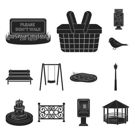 Park, equipment black icons in set collection for design. Walking and rest vector symbol stock  illustration.  イラスト・ベクター素材