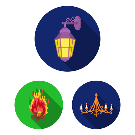 Light source flat icons in set collection for design. Light and equipment vector symbol stock web illustration.