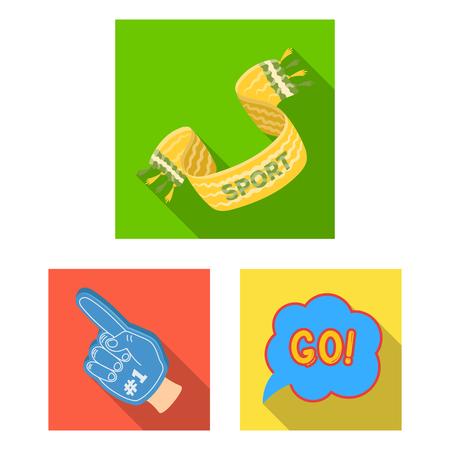 Fan and Attributes flat icons in set collection for design. Sports Fan vector symbol stock web illustration. Vektoros illusztráció