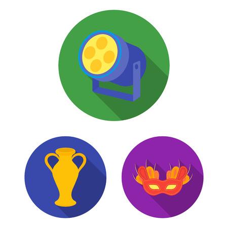 Icone piane di arte teatrale nella raccolta dell'insieme per progettazione Illustrazione di web delle azione di simbolo di vettore dell'attrezzatura e degli accessori di teatro.