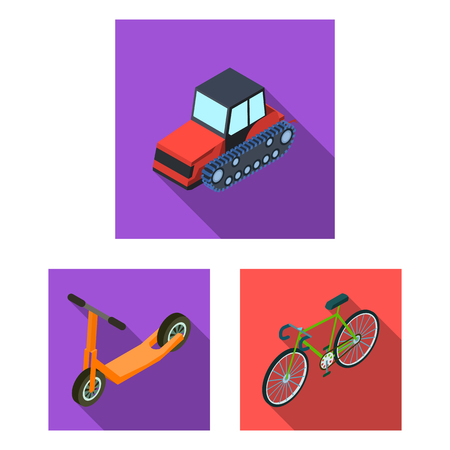 Different types of transport flat icons in set collection for design. Car and ship isometric vector symbol stock web illustration. Иллюстрация