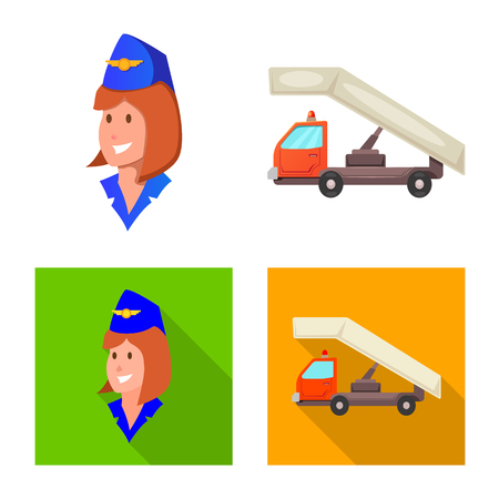 Vector illustration of airport and airplane icon. Collection of airport and plane stock symbol for web.