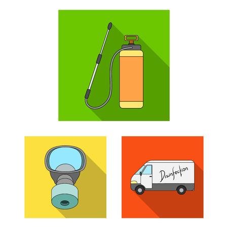 Flache Symbole für Schädlinge, Gift, Personal und Ausrüstung in der Set-Sammlung für Design. Schädlingsbekämpfung Service Vektor Symbol Lager Web-Illustration.
