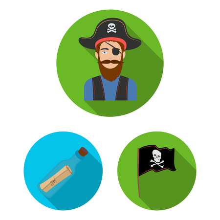 Pirate, sea robber flat icons in set collection for design. Treasures, attributes vector symbol stock web illustration.