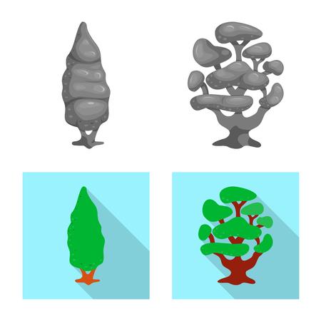 Vector illustration of tree and nature symbol. Collection of tree and crown stock vector illustration.  イラスト・ベクター素材