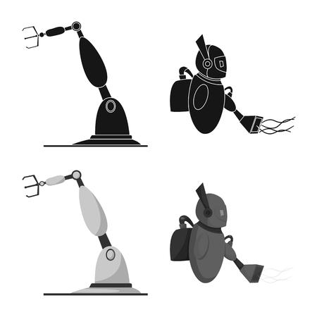 Objeto aislado de robot e icono de fábrica. Colección de icono de vector de robot y espacio para stock.