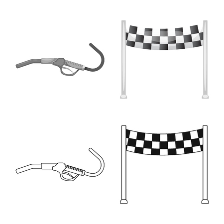 Vector design of car and rally icon. Collection of car and race stock vector illustration. Vectores